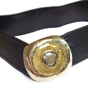 Vintage black leather gold silver statement belt